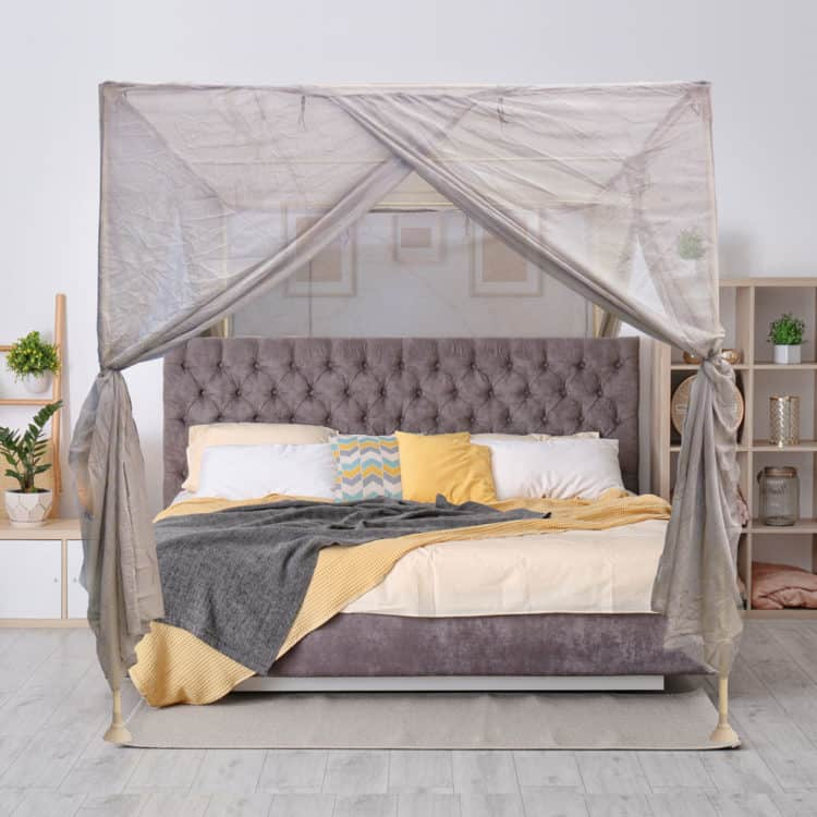 BlocSilver™ EMF Protection Four Poster Canopy With Wooden Frame
